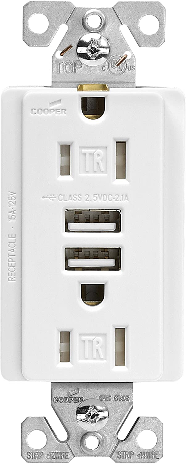 EATON Wiring TR7745W Combination USB Charger with Tamper Resistant Receptacle and Box, 15-Amp, White Finish