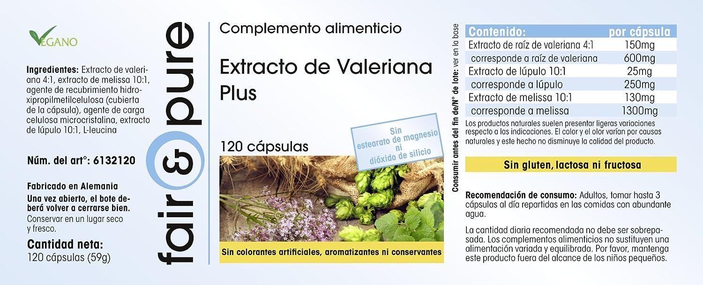 Extracto de Valeriana Plus - 120 cápsulas - vegano - con lúpulo y bálsamo de limón: Amazon.es: Salud y cuidado personal