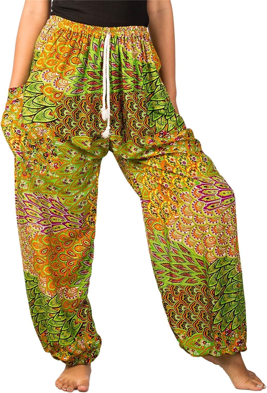 Lofbaz Womens Drawstring Colourful Floral Peacock Rayon Genie Boho Harem Pants