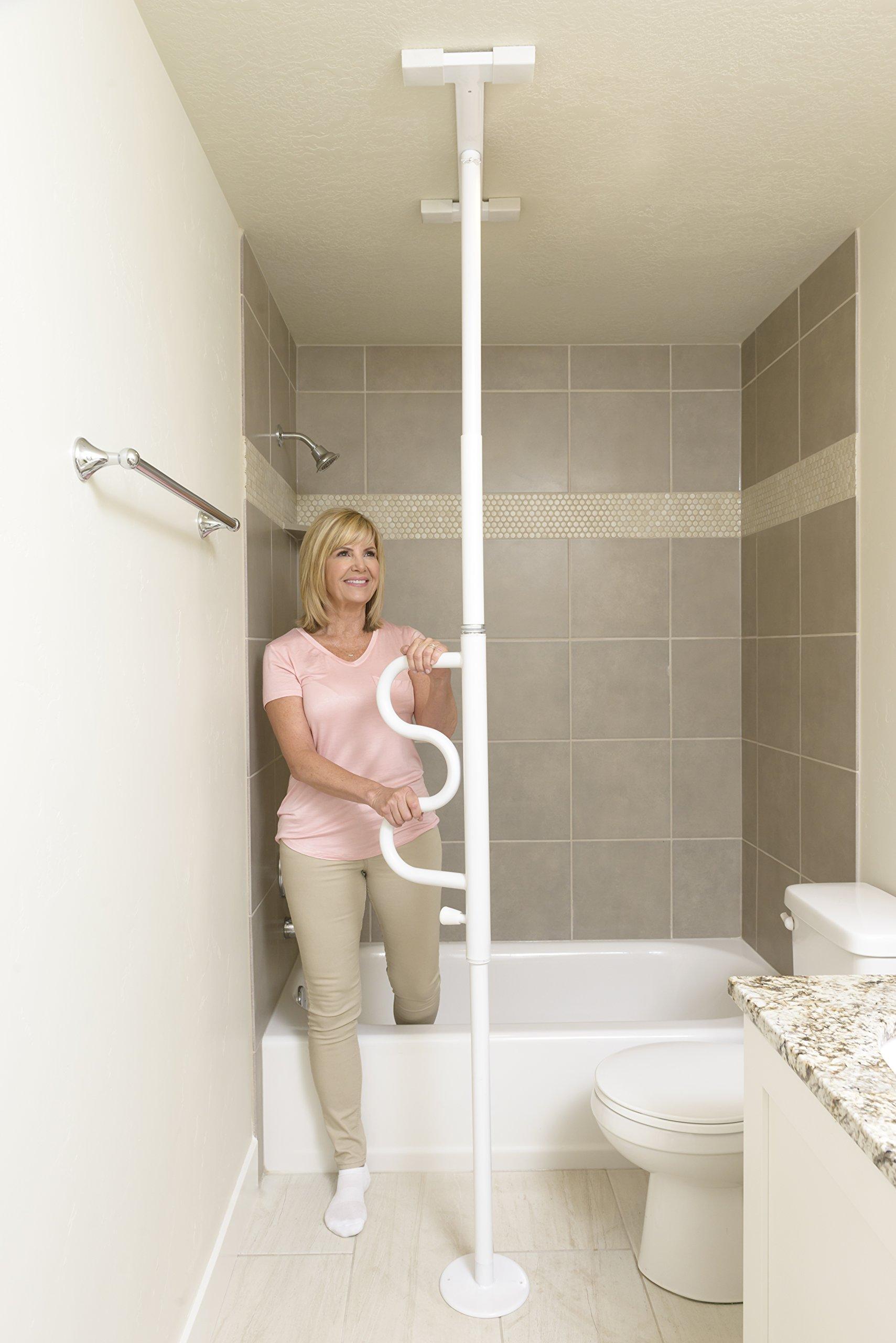 Stander Security Pole & Curve Grab Bar - Elderly Tension Mounted Transfer Pole + Bathroom Assist Grab Bar - Iceberg White by Stander (Image #3)