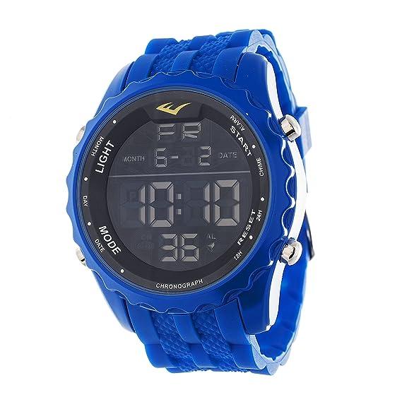 Everlast Jumbo Hombres redondo Digital del deporte LED azul reloj con correa de silicona: Everlast: Amazon.es: Relojes
