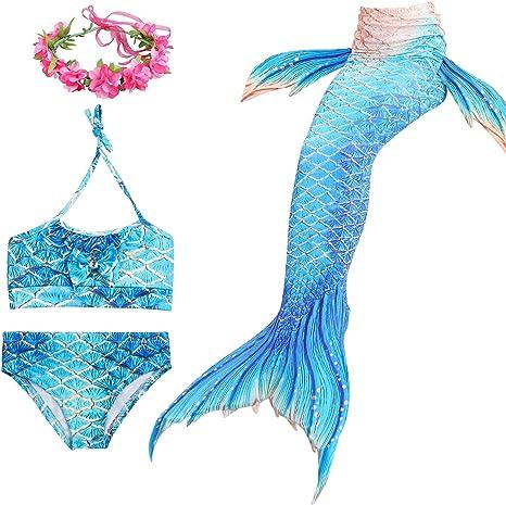 Chicas Nadando Cola de Sirena Trajes de baño 4 Piezas Nadar Cola ...