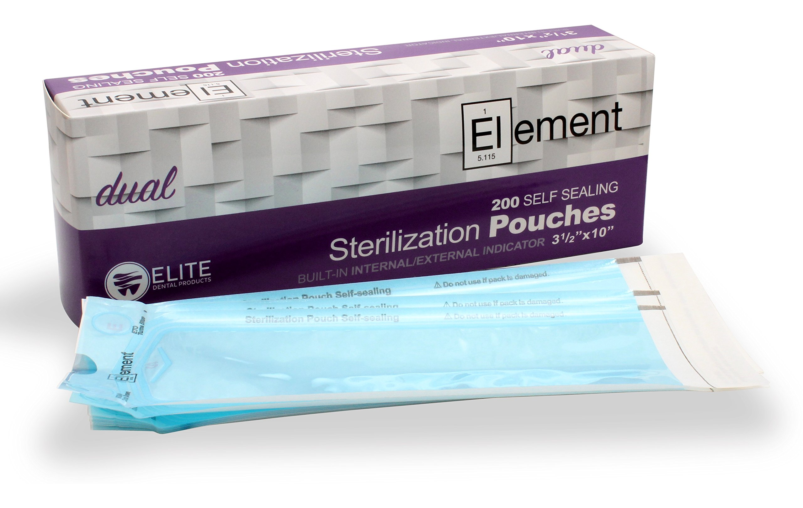 ELEMENT - Self Seal - Dual Indicator Sterilization Pouches - 3.5 x 10 - Case of 4000