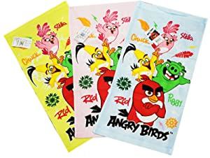 Angry Birds Stella, Chuck, Piggy, and Red Assorted Color Hand Towels (3 Towels)