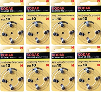 1.45V EXP 2022 PR70, K10ZA Kodak 8 Pack Hearing Aid Battery Size 10