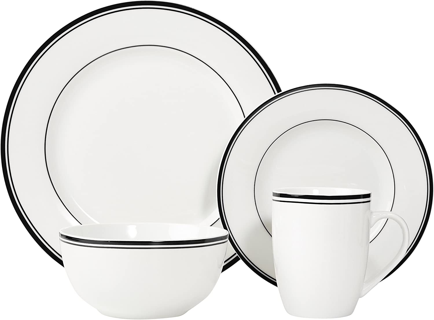 Basics Cafe Stripe Dinnerware Set with 16-Pieces Red
