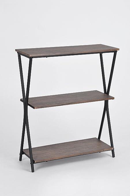 3 Tier Black Metal X Design Frame Bookcase Bookshelf In Vintage Brown Shelves