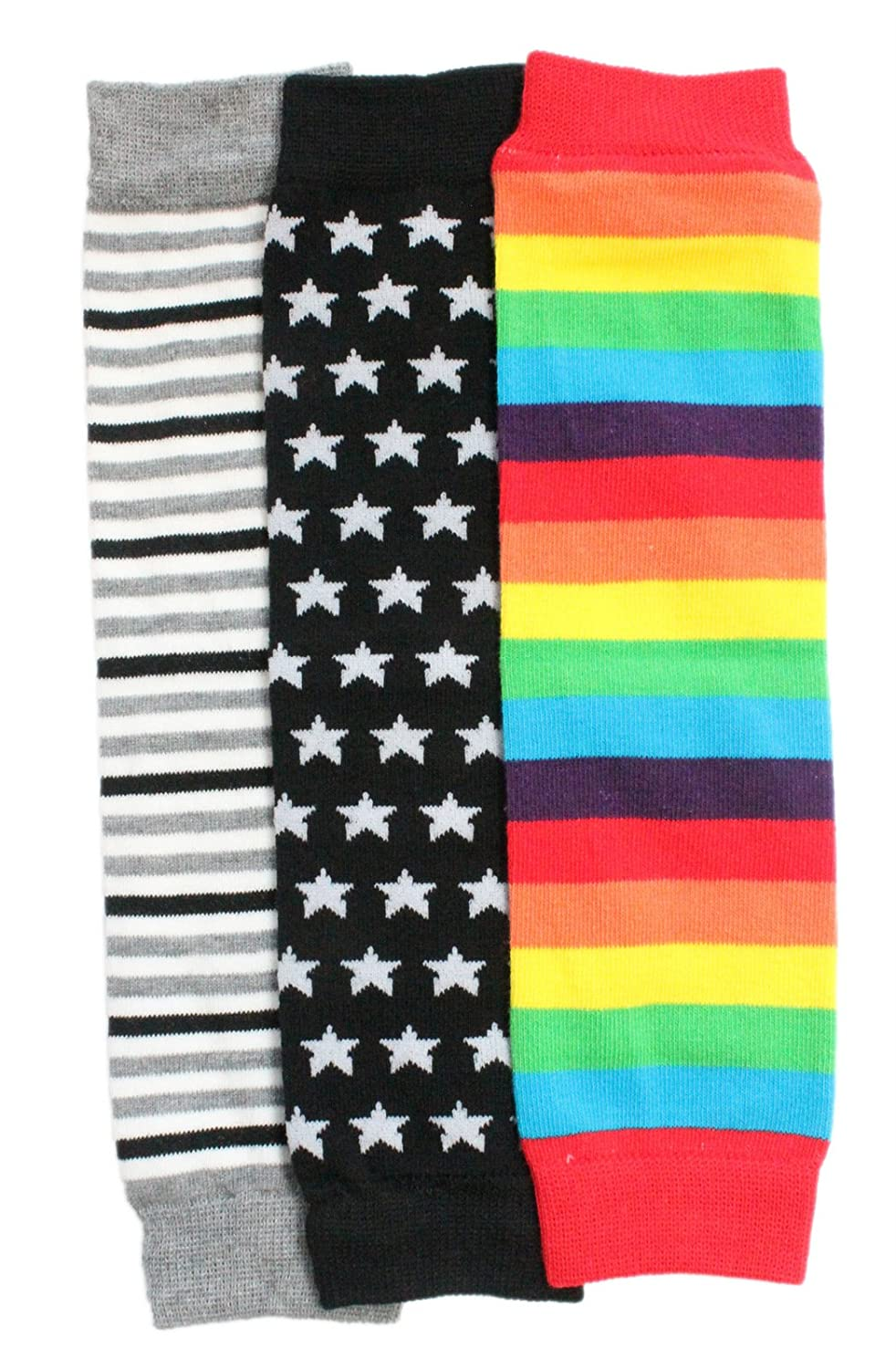 Baby Toddler Boy Leg Warmers Pack of 3 - Black Stars Grey Rainbow Stripes