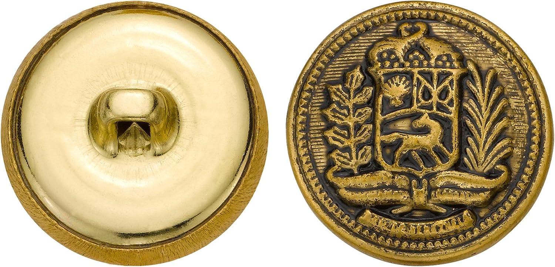 Size 36 Ligne C/&C Metal Products 5203 Ax Crest Metal Button 36-Pack Antique Gold