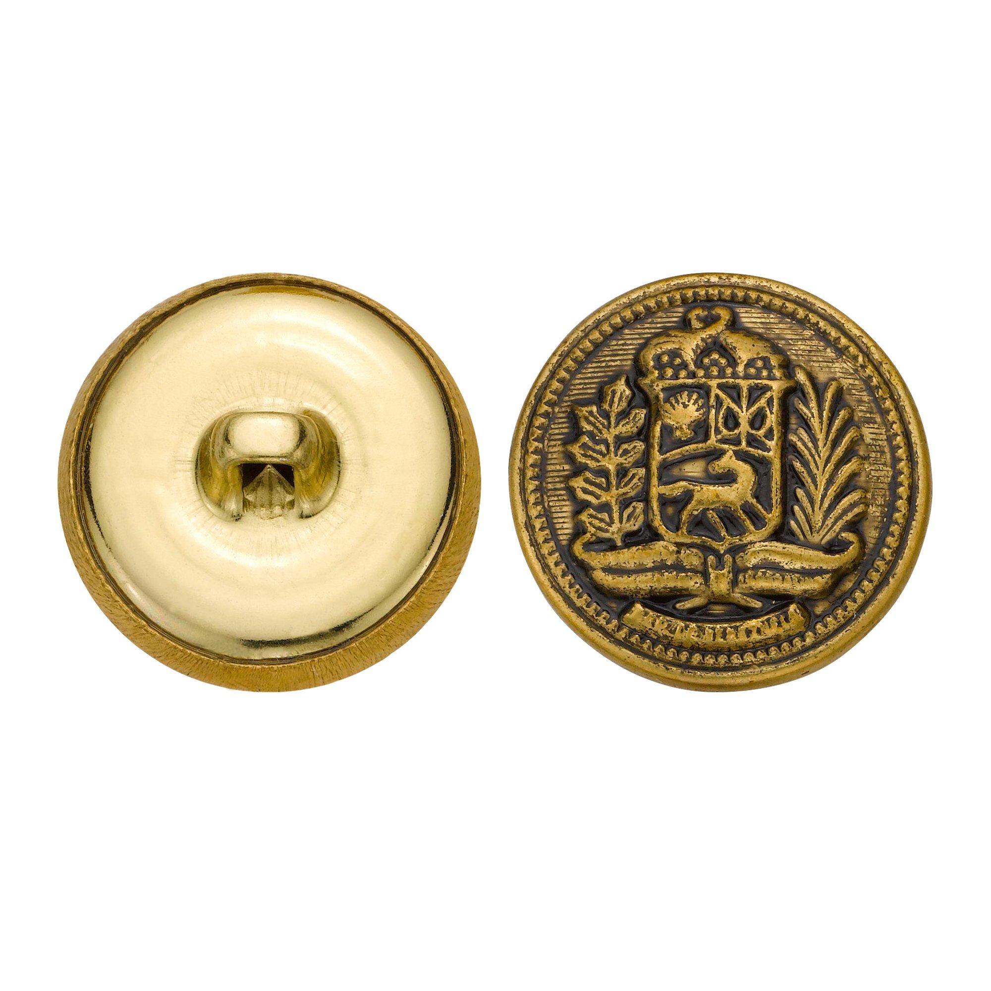 C&C Metal Products 5271 Crest Metal Button, Size 33 Ligne, Antique Gold, 36-Pack