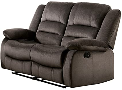 Astounding Homelegance Jarita Reclining Loveseat Polyester Fabric Cover Chocolate Andrewgaddart Wooden Chair Designs For Living Room Andrewgaddartcom