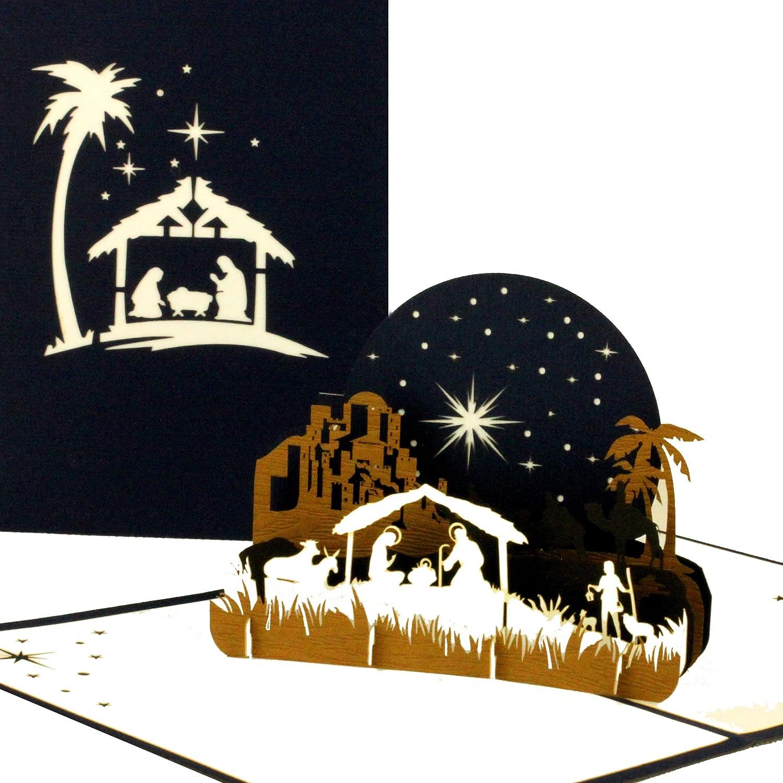 '3d di Natale carta Sacra Famiglia–Natale, nobile Pop Up carta da Natale con presepe in blu e bianco Cologne Cards | Pop-Up Karten