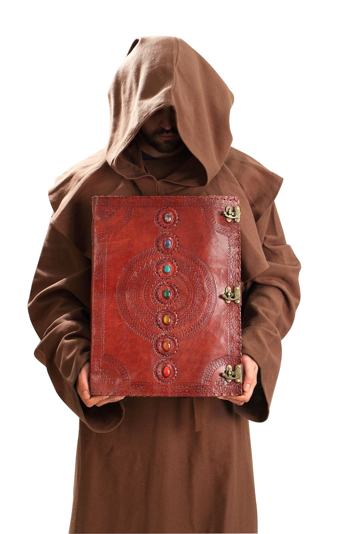 Massive Mystic Leather Journal Spellbook w/ 7 Chakra Stones