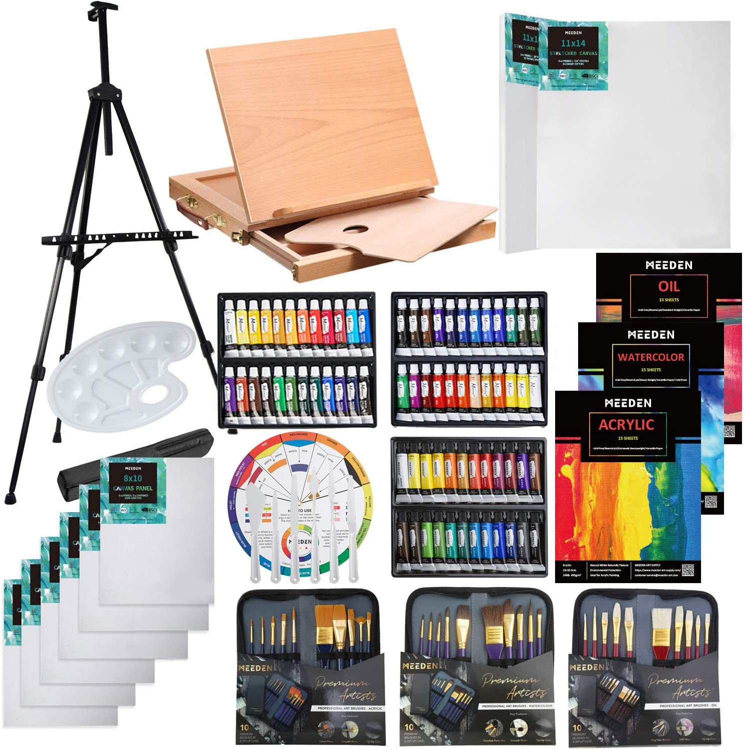 MEEDEN 124-Piece Deluxe Artist Painting Set with Aluminum and Solid Beech Wood Easel, Paint, Stretched Canvas and Accessories, Great Gift for Artists, Beginner & Adults