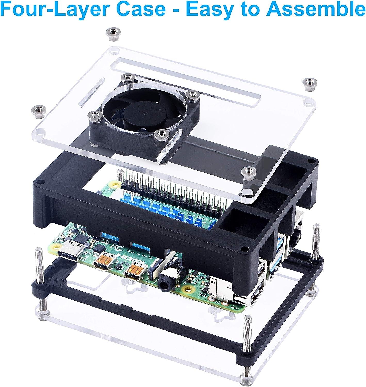 Clear//Black Miuzei Case for Raspberry Pi 4 with 35mm Cooling Fan 4 x Heatsinks for Raspberry Pi 4 Model B