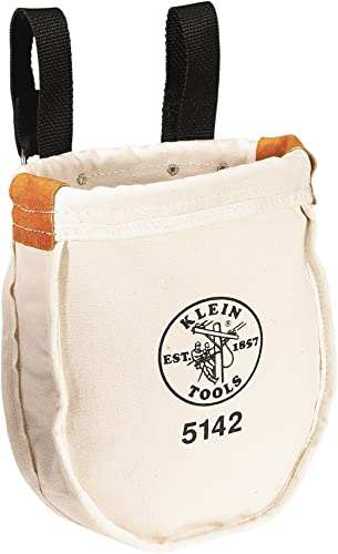 Klein Tools 5142P Heavy Tool Bag, No. 8 Canvas Utility Bag with Interior Pocket and Reinforced Rope Top, 9 x 8 x 10-Inch