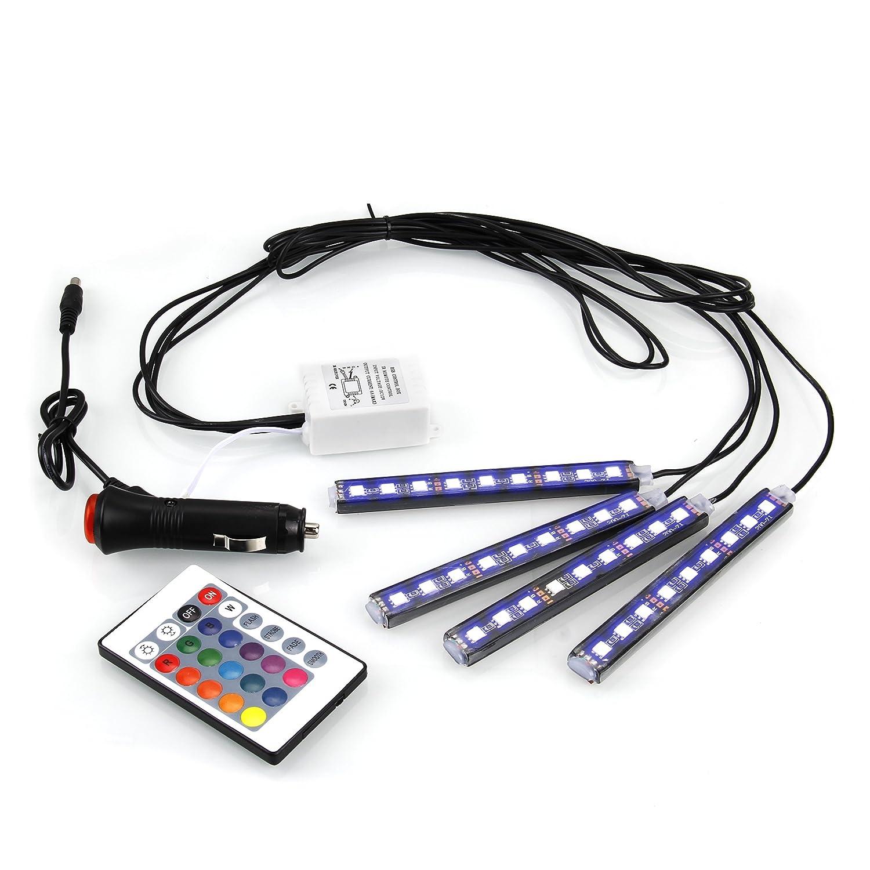 vitutech LED Auto Luci Strisce Strip Barra Adesive Flessible per Auto Barca Casa Ufficio per Regolabili Tramite Telecomando Kit 4 pz Led Auto Interni