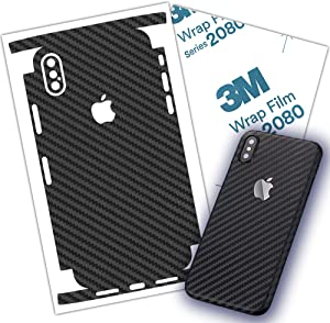 Carbon Fiber 3M Film iPhone Skin Protective wrap Around Edges Cover Black Skin for iPhone 7, 7 Plus 8, 8 Plus, X, Xs, Xs Max (iPhone 8 Plus)
