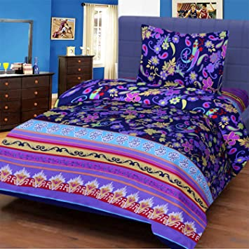 Amayra Home 3D Designer Printed 180TC Polycotton Single Bedsheet 60 X 90 with 1 Pillow Cover