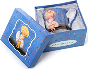 GAPCHINSKA Fine Porcelain Mug for Coffee, Tea, and Lattes 9 oz/270ml Colorful Custom Art Collection Drink Cups for Women, Modern Pop Culture, Vintage Designs with Stylish Gift Box   Monroe 924-442