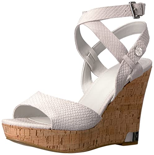 1f9e453b9f6 GUESS Women s Harana Wedge Sandal White 5 Medium US