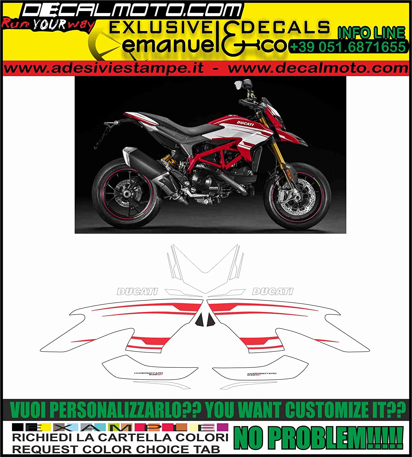 ability to customize the colors Kit adesivi decal stikers DUCATI HYPERMOTARD 939 SP 2016-2018 FULL KIT NO PAINT