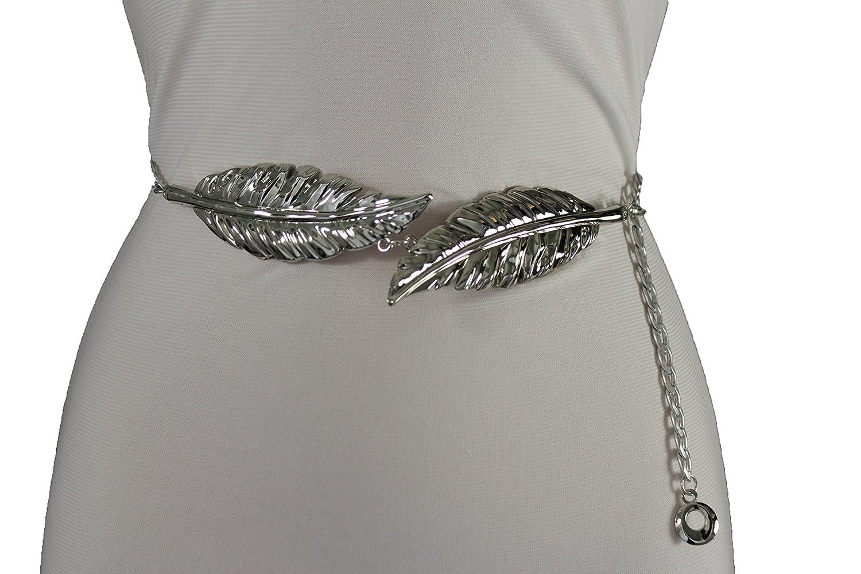 TFJ Women Fashion Belt Hip High Waist Metal Chains Double Leaf Buckle S M L Silver