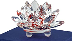 Mstechcorp Sapphire Sparkle Crystal 3 inch Decorative Clear Reflection Lotus Flower For Feng Shui Home Decor with Gift Box (Ruby Red)
