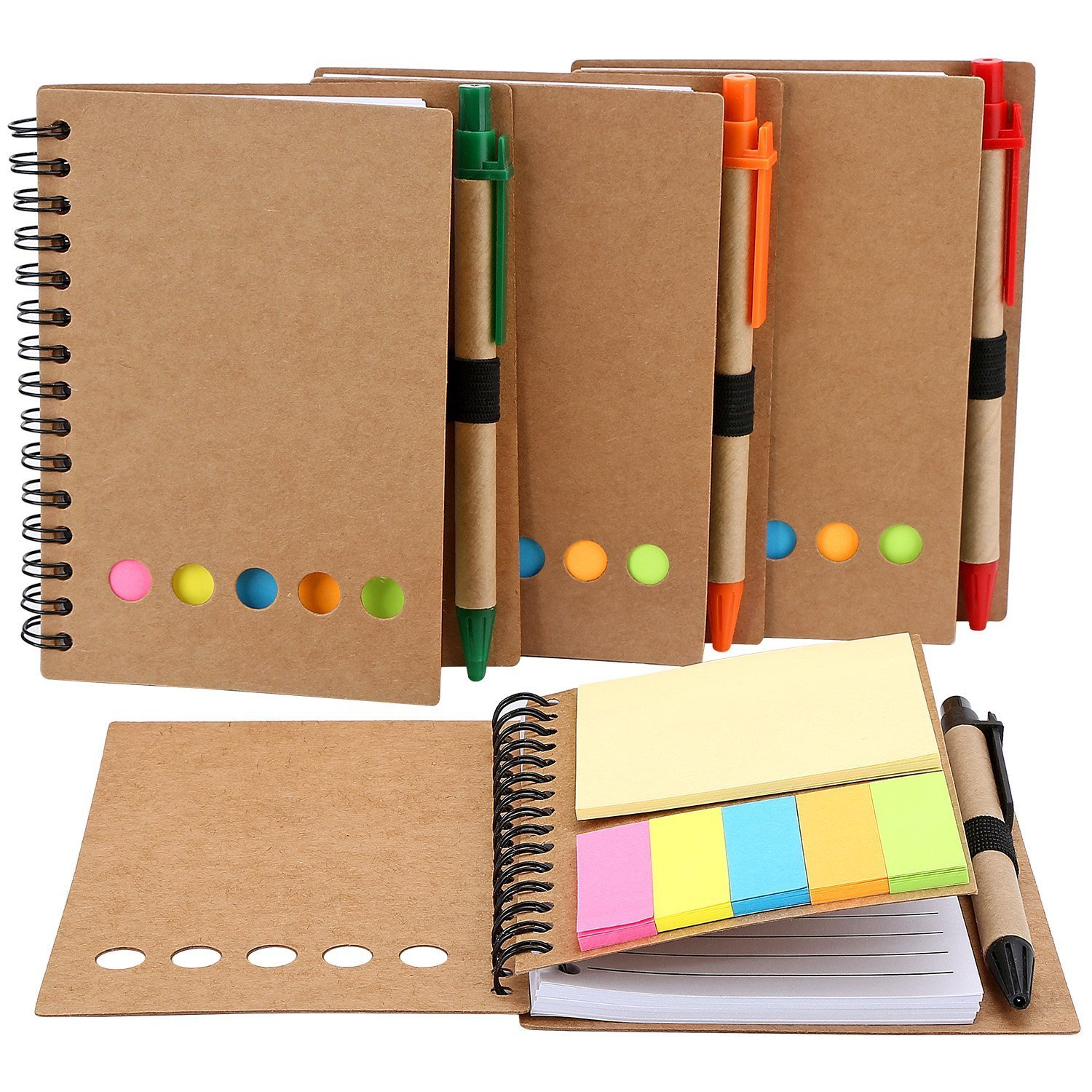 4 Pack Spiral Notebook Kraft Paper Notepad with Pen in Holder and Sticky Notes, Page Marker Colored Index Tabs Flags (Brown Cover) Md trade