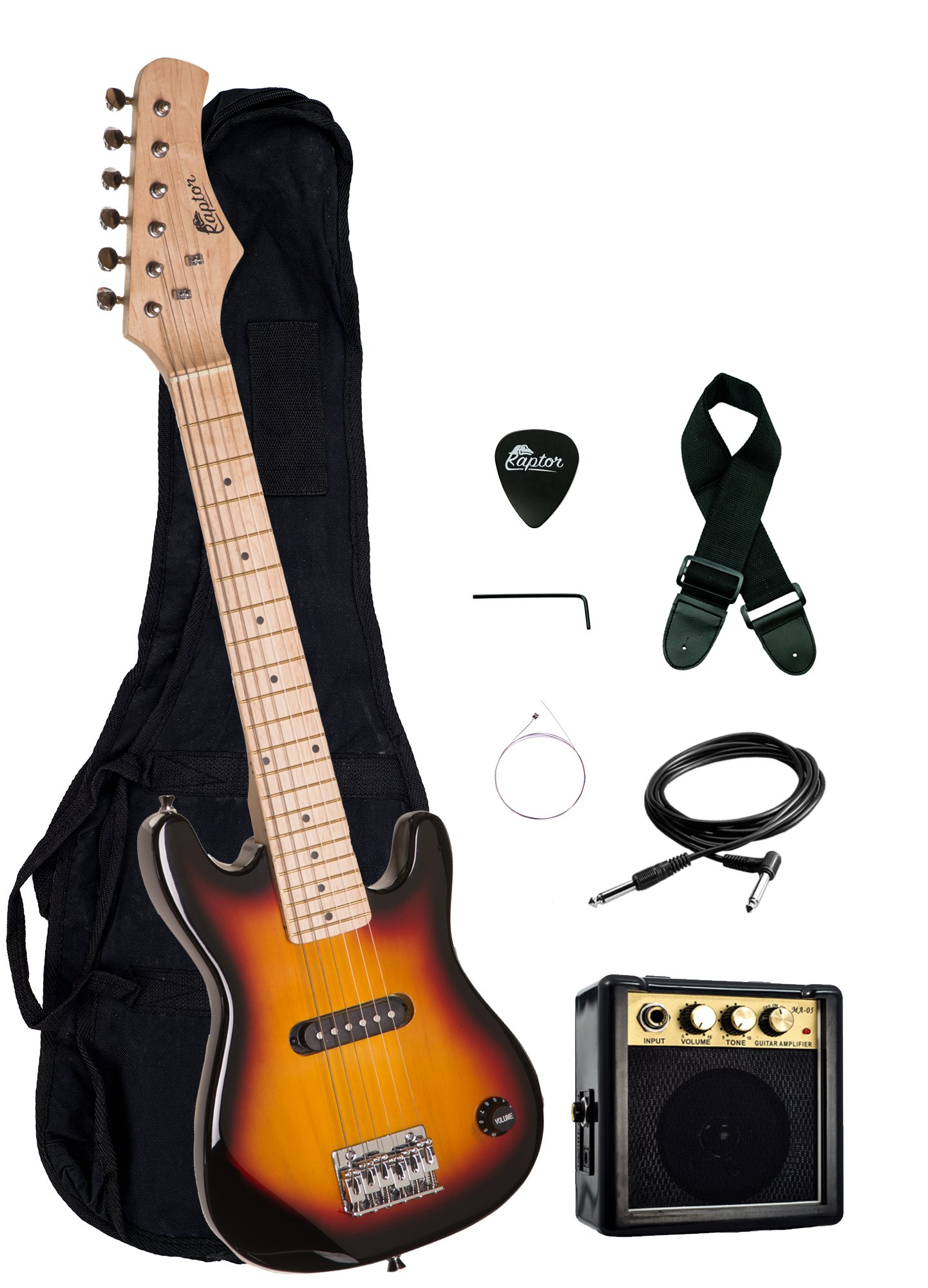 30'' Kids 1/2 Size ULTIMATE Electric Guitar Package with 3W Amp, Gig Bag, Strap, Cable and Exclusive RAPTOR Picks (Tobaccoburst)