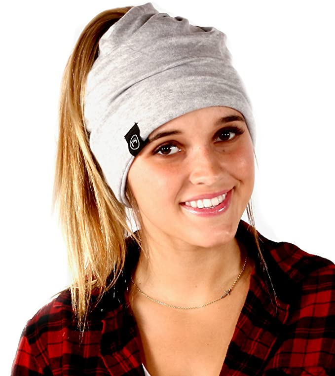 Women's Slouchy Beanie with Hole (Light Grey) best ponytail beanies