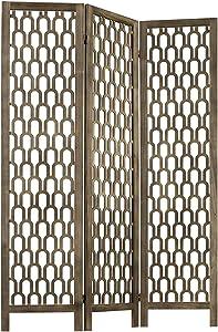 MyGift 3-Panel Decorative Arch Cutout Art Deco Design Vintage Brown Wood Room Divider