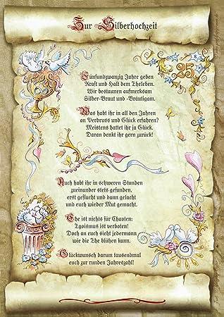 Gedicht Silberhochzeit Hochzeit Urkunde Geschenk Prasent Jubilaum