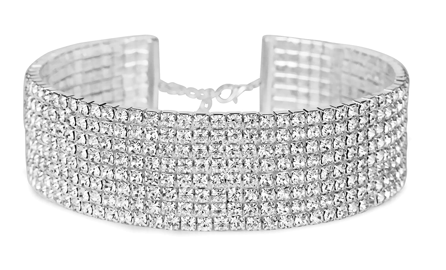 """Rhinestone Choker 3 5 8 Row Silver by LuxeLife – Women's Crystal Necklace Diamond Collar with 5"""" Extender"""