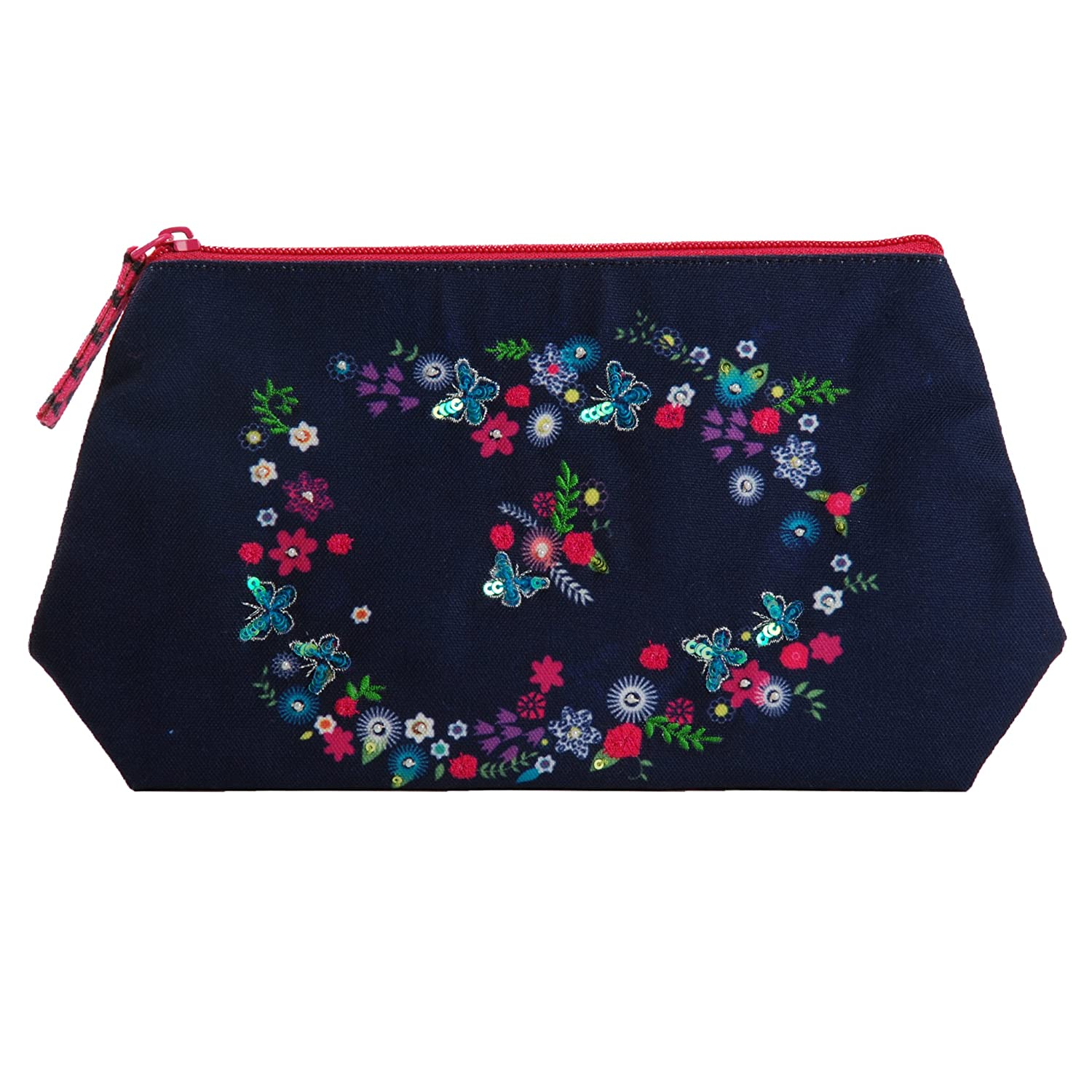 Pinaken Women and Girls Canvas All Purpose Cosmetic Pouch Butterfly Bloom, Canvas