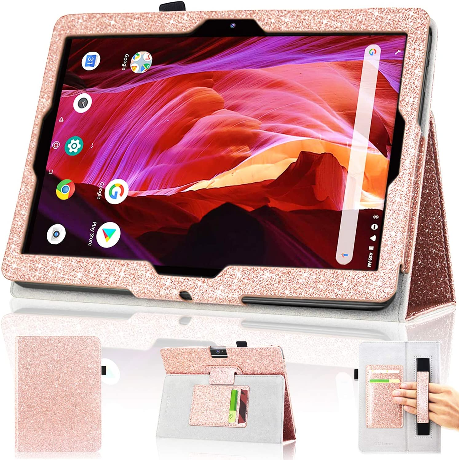 DMLuna Case for Dragon Touch 10 inch K10 / Notepad K10 / Max10 / ZONKO K105 10.1 Tablet, Premium Leather Cover for Lectrus 10.1, Victbing, Hoozo, Winsing 10 with Hand Strap Card Slot, Glitter Rose