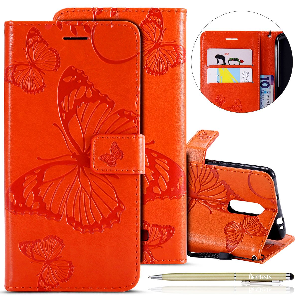 Herbests Kompatibel mit Leder Handy Schutzh/ülle Xiaomi Redmi Note 3 Lederh/ülle Schmetterling Muster Leder Handyh/ülle Handytasche Brieftasche Ledertasche Bookstyle Flip Case Cover Klapph/ülle,lila