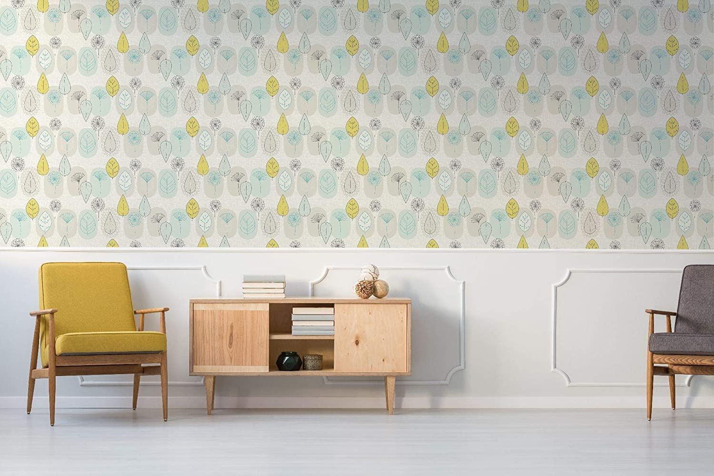 Fresco Copenhagen dise/ño de huevo de pato Papel pintado para pared color amarillo y gris