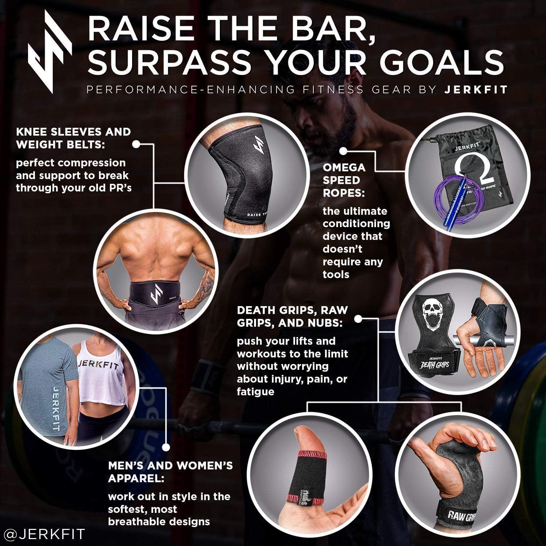 JerkFit Raw Grips 2/Doigt Cuir Grips de Gymnastique avec Protection Compl/ète Palm.