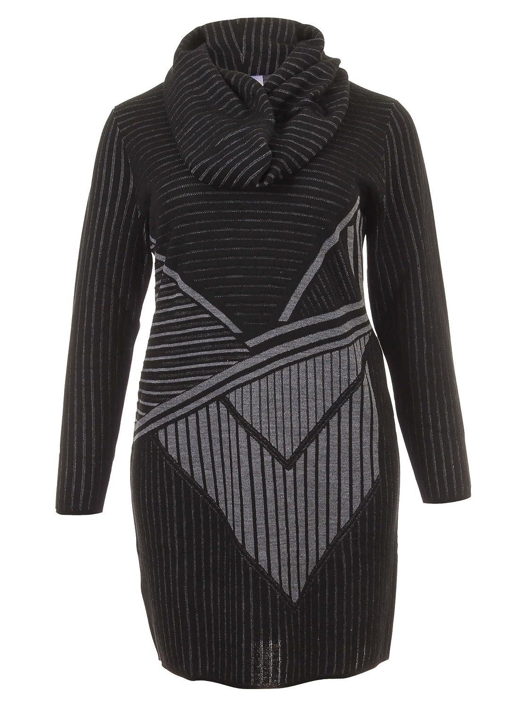 Long-Pullover mit Muster in schwarz/grau in Übergrößen (L, M, XL, XXL) von Elena Miro