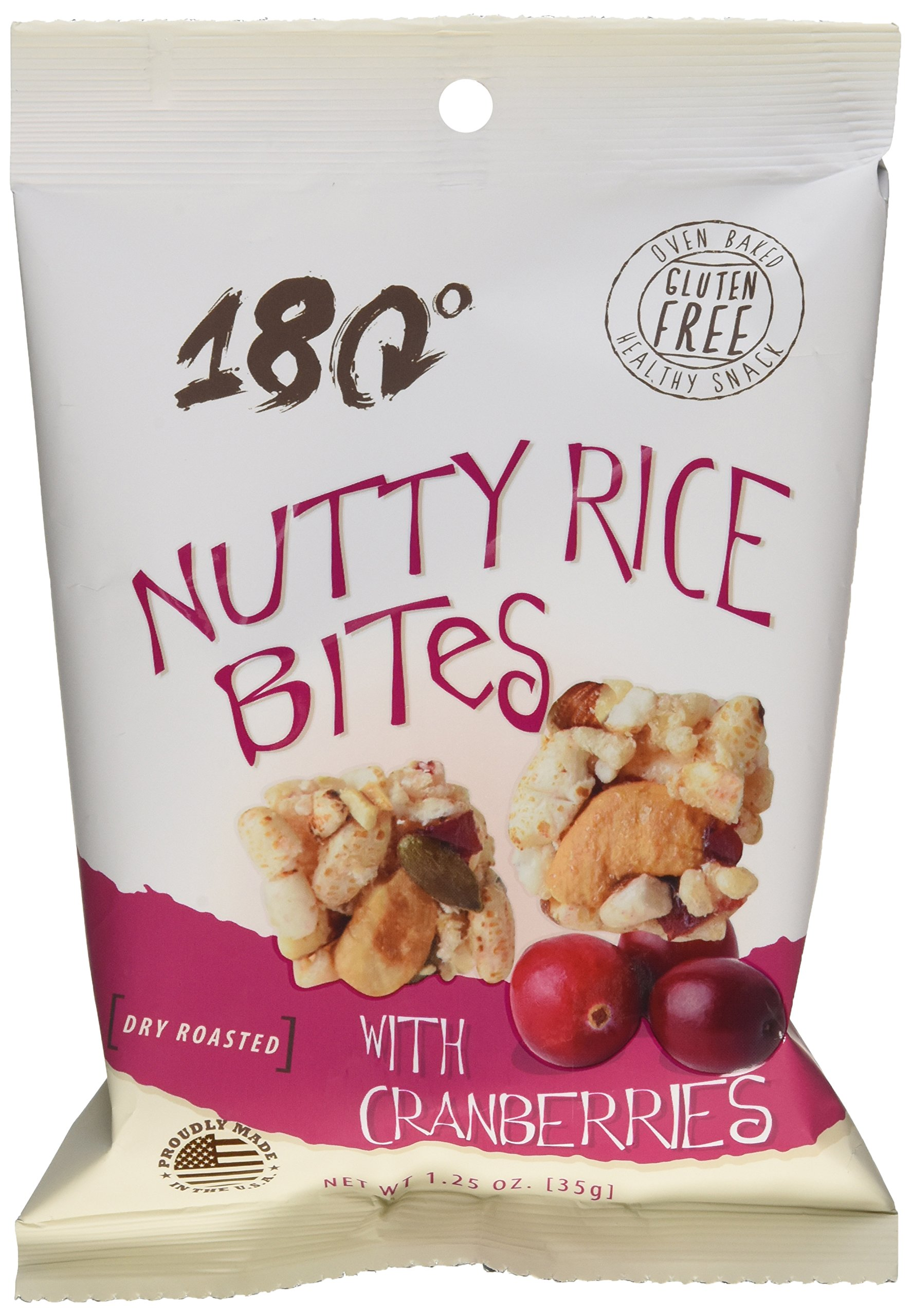 180 Snacks Nutty Rice Bites with Cranberries - Gluten Free, 1.25 oz Bag (Pack of 8) by 180 Snacks