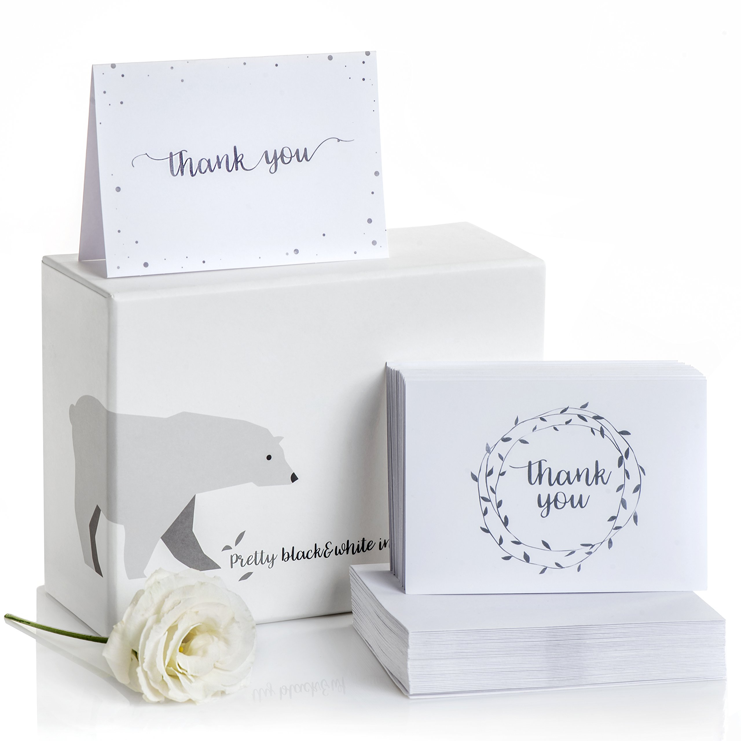 Amazon.com: 100 Embossed Thank You Cards with Self-Seal Envelopes by ...