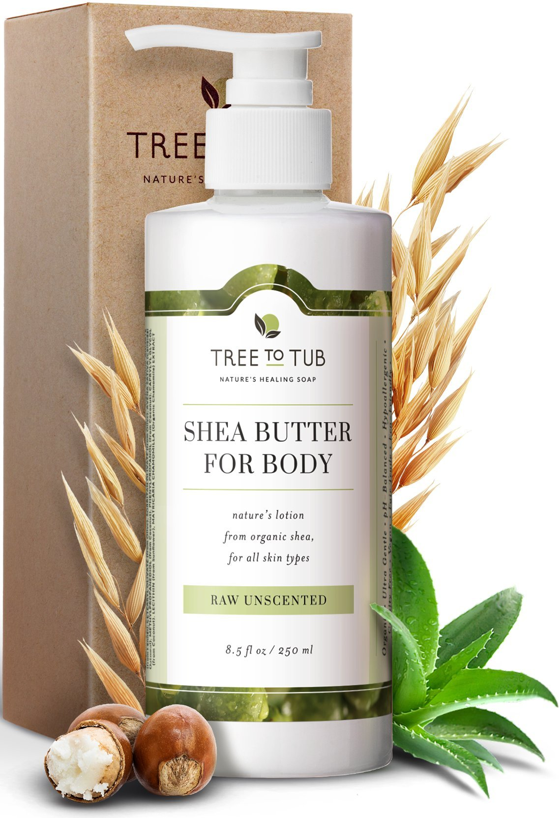 Real, Sensitive Skin and Eczema Lotion by Tree To Tub - pH 5.5 Balanced, Fragrance Free Lotion for Men and Women. Eczema, Psoriasis Treatment with Organic Shea Butter, Cocoa Butter, Aloe Vera 8.5 oz by Tree to Tub