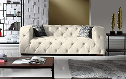 Beau Large Tufted Real Leather Chesterfield Sofa, Classic Living Room Couch  (White)