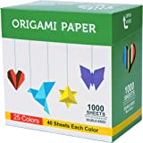 Origami Paper 1000 Sheets 6 Inch Square Double Sided Color 25 Vivid Colors for Beginners Trainning and School Craft Lessons