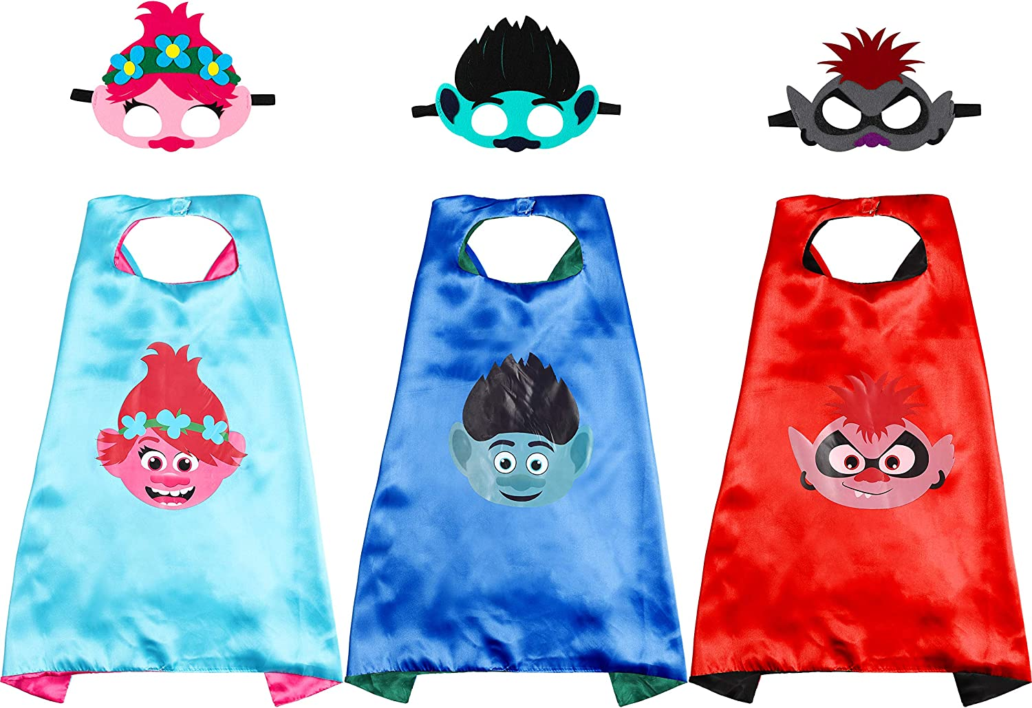 ANGOLIO 3 Pcs Trolls Capes with Masks Dress up Costumes Halloween Christmas Cosplay Festival Birthday Party Favors for Kids