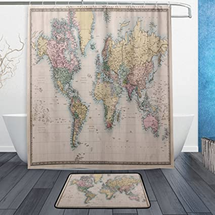 Original Old World Map Waterproof Polyester Fabric Shower Curtain 60quot X 72quot