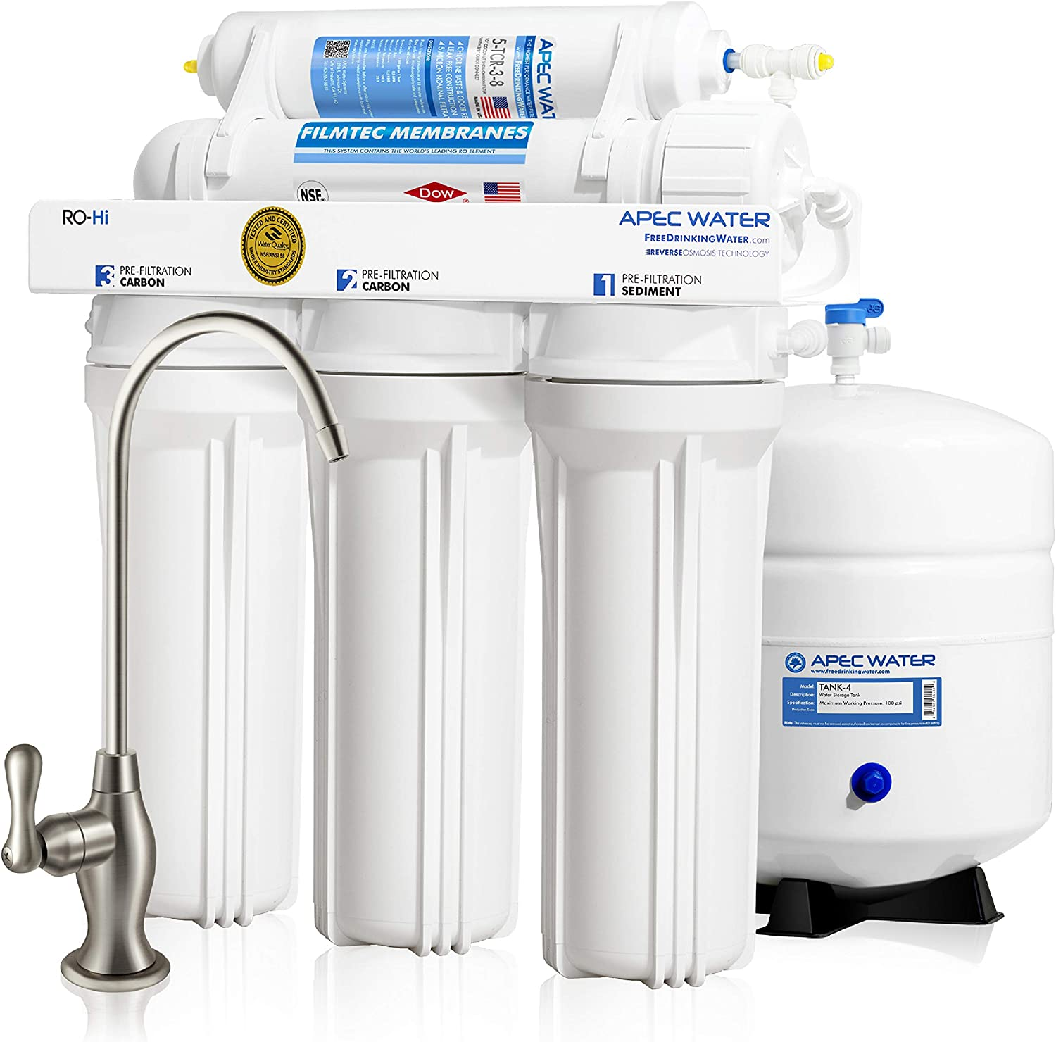 APEC Water Systems RO-90 Ultimate Series Top Tier Supreme Certified High Flow 90 GPD Ultra Safe Reverse Osmosis Drinking Water Filter System