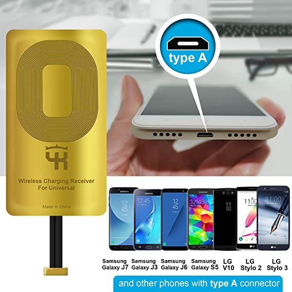 QI Receiver Type A for Samsung Galaxy J7 - J3-J6- S5 - LG V10 -LG Stylo 2-3 -Plus - QI Wireless Adapter– Wireless Charging Receiver- QI Receiver ...