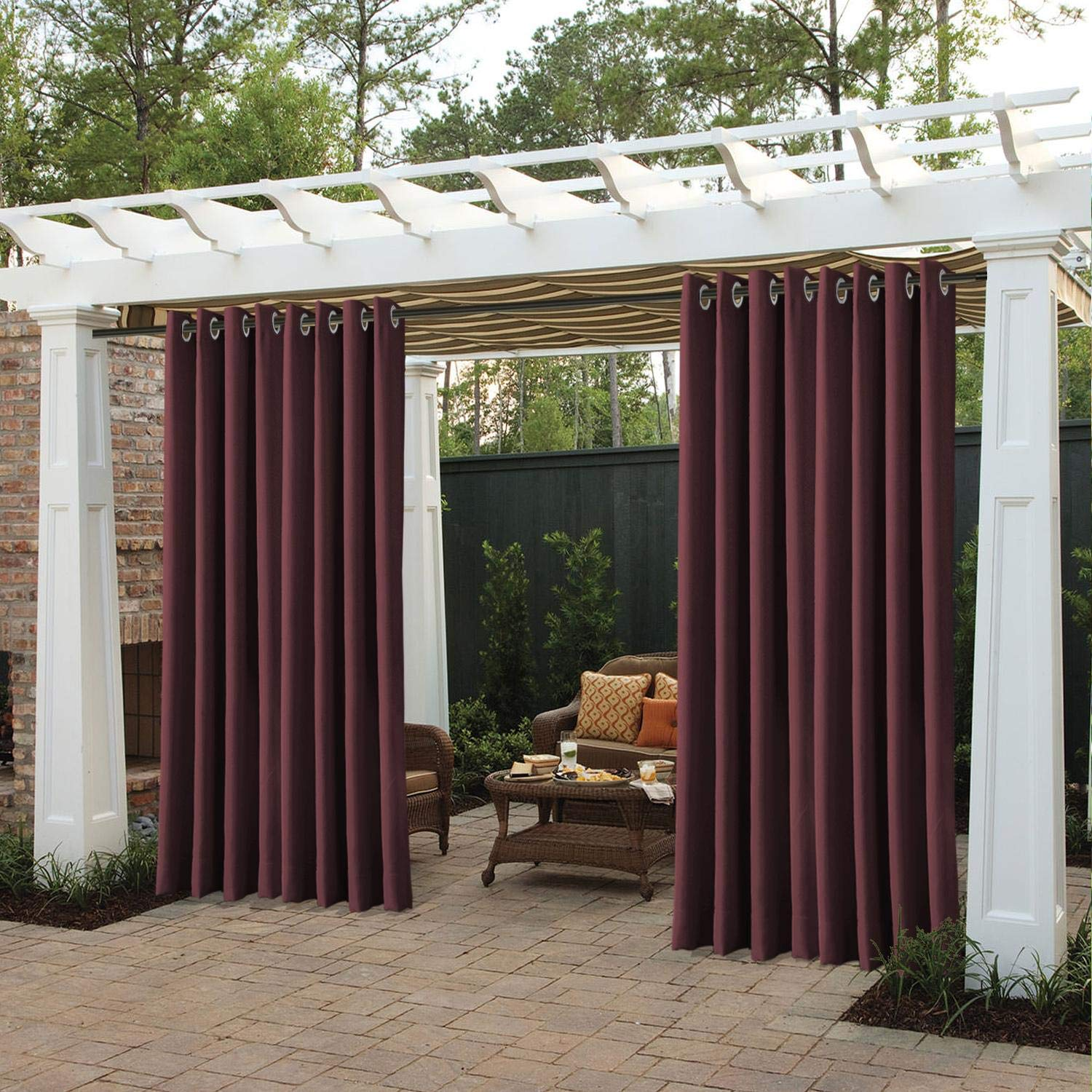 cololeaf Outdoor Curtains for Patio Extra Wide Waterproof Curtain Panels for Porch, Gazebo, Pergola, Cabana, Dock, Beach Home - Grommet - Burgundy 150'' Wx96 L Inch (1 Panel)